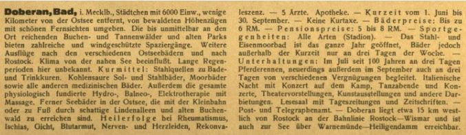 Bad Doberan Bäderadressbuch 1928